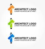 Logo for the architect or designer of interiors. Logo in three color variations (orange, green and blue)  for the architect or designer of home and interiors Royalty Free Stock Photos