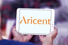 Aricent software company logo. Logo of Aricent software company on samsung tablet . Aricent is a global software company Stock Images