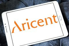 Aricent software company logo. Logo of Aricent software company on samsung tablet. Aricent is a global software company Royalty Free Stock Image