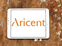 Aricent software company logo. Logo of Aricent software company on samsung tablet on wooden background. Aricent is a global software company Stock Photos