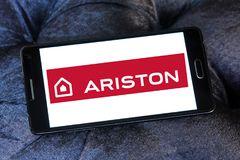 Ariston home appliances company logo. Logo of Ariston home appliances company on samsung mobile. Ariston is suppliers of electrical appliances Stock Photography