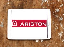 Ariston home appliances company logo. Logo of Ariston home appliances company on samsung tablet. Ariston is suppliers of electrical appliances Stock Photo