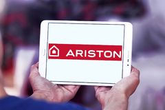 Ariston home appliances company logo. Logo of Ariston home appliances company on samsung tablet. Ariston is suppliers of electrical appliances Stock Image