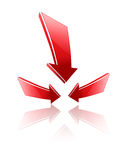 Logo arrows. Logo 3d red glossy arrows with shadow Stock Photo