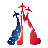 Logo as a tourist flying aircraft, with a silhouette of the Statue of Liberty and the symbolism of the American flag Royalty Free Stock Photos