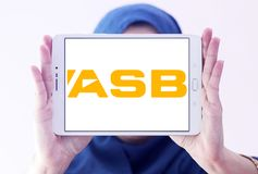 ASB Bank logo. Logo of ASB Bank on samsung tablet holded by arab muslim woman. ASB is a bank owned by Commonwealth Bank, operating in New Zealand. It provides a Stock Photography