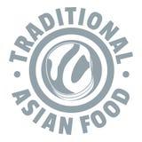 Logo asiatique de nourriture de déjeuner, style gris simple illustration libre de droits