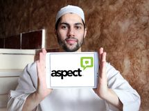 Aspect Software logo. Logo of Aspect Software on samsung tablet holded by arab muslim man. Aspect Software, Inc. is an American multinational call center stock images