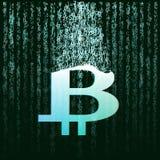 Logo astratto dei bitcoins di tecnologia sul fondo del blu dell'ingranaggio e di codice binario royalty illustrazione gratis