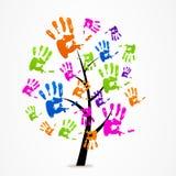 Logo astratto del segno della mano dell'albero di affari Immagine Stock