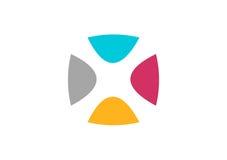 Logo astratto della rete, vettore di progettazione della geometria, logotype di businness del collegamento del gruppo, lettera X Fotografia Stock Libera da Diritti