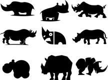 Logo astratto della siluetta di rinoceronti Immagini Stock