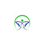 Logo astratto di vettore dell'ala dell'uccello Fotografie Stock Libere da Diritti