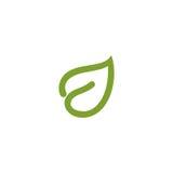 Logo astratto isolato di contorno della foglia di colore verde Logotype di sanità Icona naturale dei cosmetici Segno del sistema  Fotografia Stock Libera da Diritti