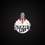 Logo Astronautycznej rakiety statek Obrazy Royalty Free