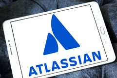 Atlassian Corporation logo. Logo of Atlassian Corporation on samsung tablet . Atlassian Corporation is an enterprise software company that develops products for Stock Images