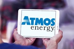 Atmos Energy logo. Logo of Atmos Energy on samsung tablet. Atmos Energy Corporation, headquartered in Dallas, Texas, is one of the United States` largest natural Royalty Free Stock Images