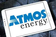 Atmos Energy logo. Logo of Atmos Energy on samsung tablet . Atmos Energy Corporation, headquartered in Dallas, Texas, is one of the United States` largest Stock Photos