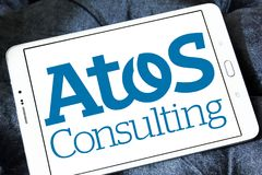 Atos consulting company logo. Logo of Atos consulting company on samsung tablet. Atos is a European IT services corporatio. It specialises in hi-tech Stock Photo