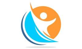 Logo attivo della gente di successo astratto Immagine Stock