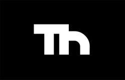 Logo audacieux blanc noir de lettre conjointe du TH T H Images stock