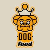 Logo auf dem Thema der Nahrung für Hunde Englische Bulldogge mit einer Krone Kümmern von um einem Haustier Auch im corel abgehobe vektor abbildung