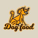 Logo auf dem Thema der Nahrung für Hunde Reinrassiger Hund im Profil haustier Auch im corel abgehobenen Betrag Linie Art vektor abbildung