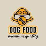 Logo auf dem Thema der Nahrung für Hunde Schüssel voll Nahrung für Haustiere Knochen unterzeichnen Auch im corel abgehobenen Betr vektor abbildung