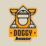 Logo auf dem Thema des Hauses für Hunde Hundehütte für ein Haustier, Ohren, Tatzen Auch im corel abgehobenen Betrag Linie Art lizenzfreie abbildung