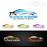 Logo automatico dell'automobile per le automobili sportive, l'affitto, il lavaggio o il meccanico Immagini Stock Libere da Diritti