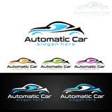 Logo automatico dell'automobile per le automobili sportive, l'affitto, il lavaggio o il meccanico Fotografie Stock