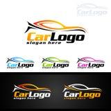 Logo automatico dell'automobile per le automobili sportive, l'affitto, il lavaggio o il meccanico Immagine Stock