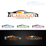 Logo automatico dell'automobile per le automobili sportive, l'affitto, il lavaggio o il meccanico Fotografia Stock