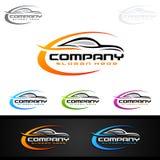 Logo automatico dell'automobile per le automobili sportive, l'affitto, il lavaggio o il meccanico Fotografia Stock Libera da Diritti