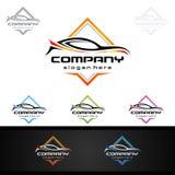 Logo automatico dell'automobile per le automobili sportive, l'affitto, il lavaggio o il meccanico Fotografie Stock Libere da Diritti