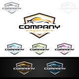 Logo automatico dell'automobile per le automobili sportive, l'affitto, il lavaggio o il meccanico Immagine Stock Libera da Diritti
