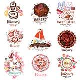Logo av bagerit, symboler Illustration av en konfekt vektor illustrationer