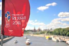Logo av den FIFA världscupen Ryssland 2018 i himlen Royaltyfria Bilder