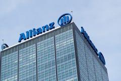Logo av den tyska finansiell och försäkringgruppen Allianz Arkivbild