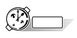 Logo av ett kafé eller en restaurang Emblem för meny eller annonsering Klocka i form av en panna med en sked och en gaffel royaltyfri foto
