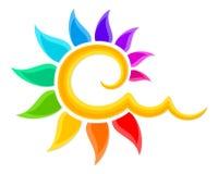 Logo av färgsolen Royaltyfria Bilder