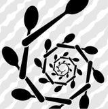 Logo av företaget eller ett tecken på ämnet av bestick Tidsbeställning för en restaurang- eller kafémeny Royaltyfri Fotografi