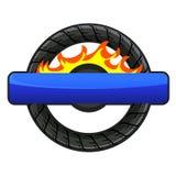 Logo av hjulet med brand Royaltyfri Bild