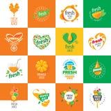 Logo av ny fruktsaft royaltyfri illustrationer