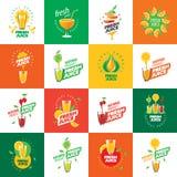 Logo av ny fruktsaft vektor illustrationer