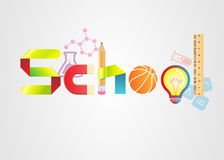 Logo av skolatext Element is lager separat i vektormapp royaltyfri illustrationer