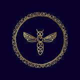 Logo avec l'insecte Abeille d'insigne pour l'identité d'entreprise Images libres de droits
