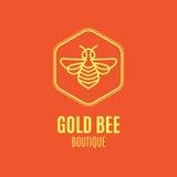 Logo avec l'insecte Abeille d'insigne pour l'identité d'entreprise Images stock