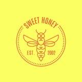 Logo avec l'insecte Abeille d'insigne pour l'identité d'entreprise Image stock