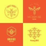 Logo avec l'insecte Abeille d'insigne pour l'identité d'entreprise Photo stock